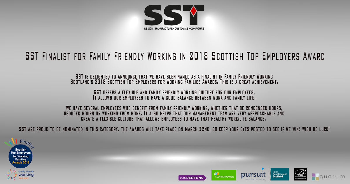 SST Finalist for Family Friendly Working in 2018 Scottish Top Employers Award