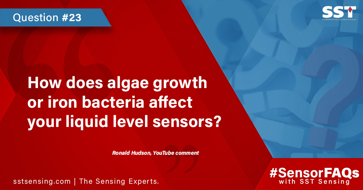 How does algae growth or iron bacteria affect your liquid level sensors