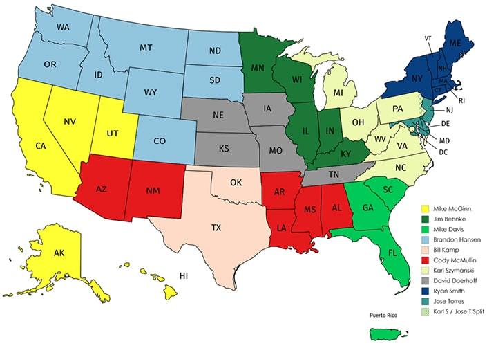 US Sales Contacts Territories